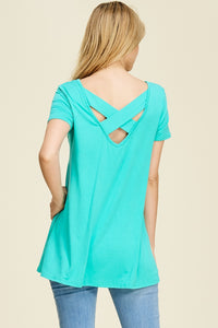Back Criss Cross Short Sleeve Top - Belle N Mae Designs