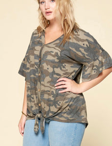 Camo Button Down-Curvy