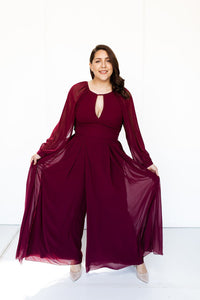 Sariyah Merlot Red Jumpsuit Split Leg Tania Olsen Sleeves