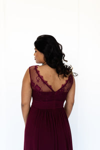 wine chiffon lace formal dress