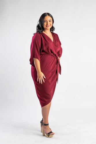 Burgundy wrap style midi with bat wing sleeves
