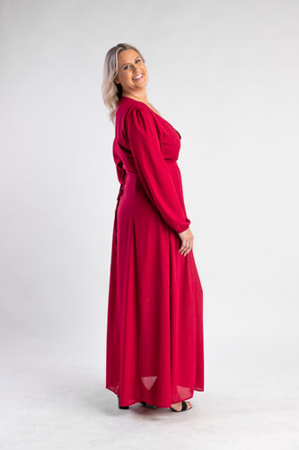 Red wrap dress with long sleeves
