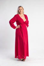 Load image into Gallery viewer, Red wrap dress with long sleeves