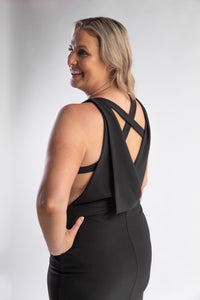 Black gown with criss cross back