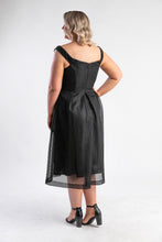 Load image into Gallery viewer, Black netted midi dress by Bariano