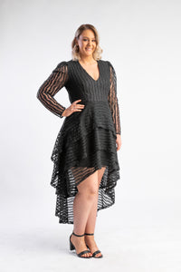 Dancing in the dark dress Mossman, black dress with tiered netting and long sleeves