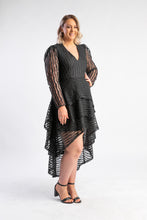 Load image into Gallery viewer, Dancing in the dark dress Mossman, black dress with tiered netting and long sleeves