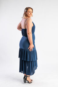 Kate Pleat dress Cooper St, midnight blue dress with pleats
