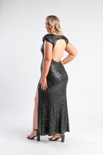 Load image into Gallery viewer, Black sequin dress with split leg and open back
