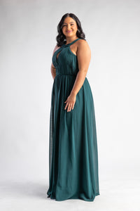 Bariano High Neck Chiffon Green Anemane Dress