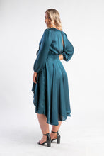 Load image into Gallery viewer, Fanciful Dress Sheike, satin green long sleeve dress