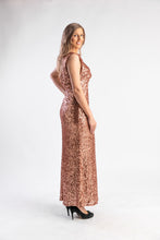 Load image into Gallery viewer, Bronze sequin Gown by Jenny Packham