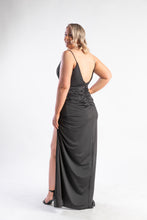 Load image into Gallery viewer, Bariano Black dress with low back and split leg