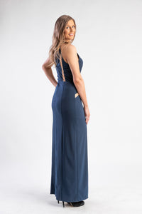 Navy Dress High Neck with Split Leg