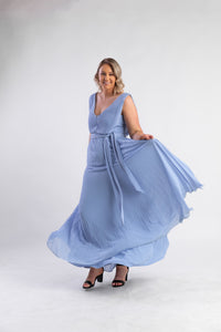 Cornflower blue pleated dress
