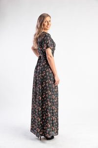 Black floral wrap dress short sleeves