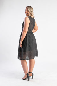 gingham black midi dress with full skirt