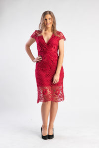 Red lace midi dress with cap sleeve
