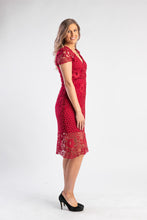 Load image into Gallery viewer, Red lace midi dress with cap sleeve