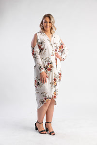 Soft white floral midi dress with shoulder cut out