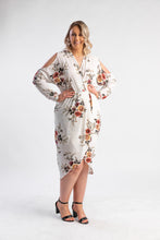 Load image into Gallery viewer, Soft white floral midi dress with shoulder cut out