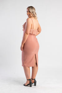 Blush bodycon dress with ruffle