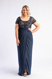 Navy sequin dress by Jadore - chiffon skirt with sequin lace top