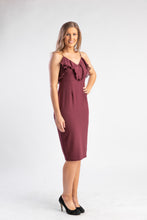 Load image into Gallery viewer, Wine bodycon dress with ruffle