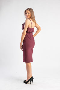 Wine bodycon dress with ruffle