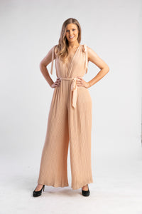 Orange pleated jumpsuit