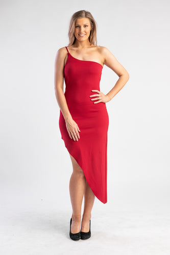 Crimson Red Dress One Shoulder ASOS