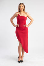 Load image into Gallery viewer, Crimson Red Dress One Shoulder ASOS