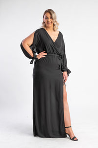 Black dress with split leg and split sleeves