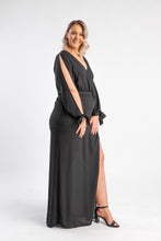 Load image into Gallery viewer, Black dress with split leg and split sleeves