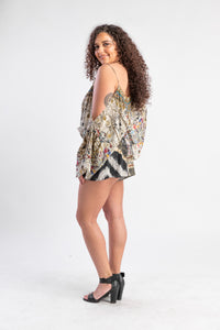 Camilla playsuit with tribal pattern and beading