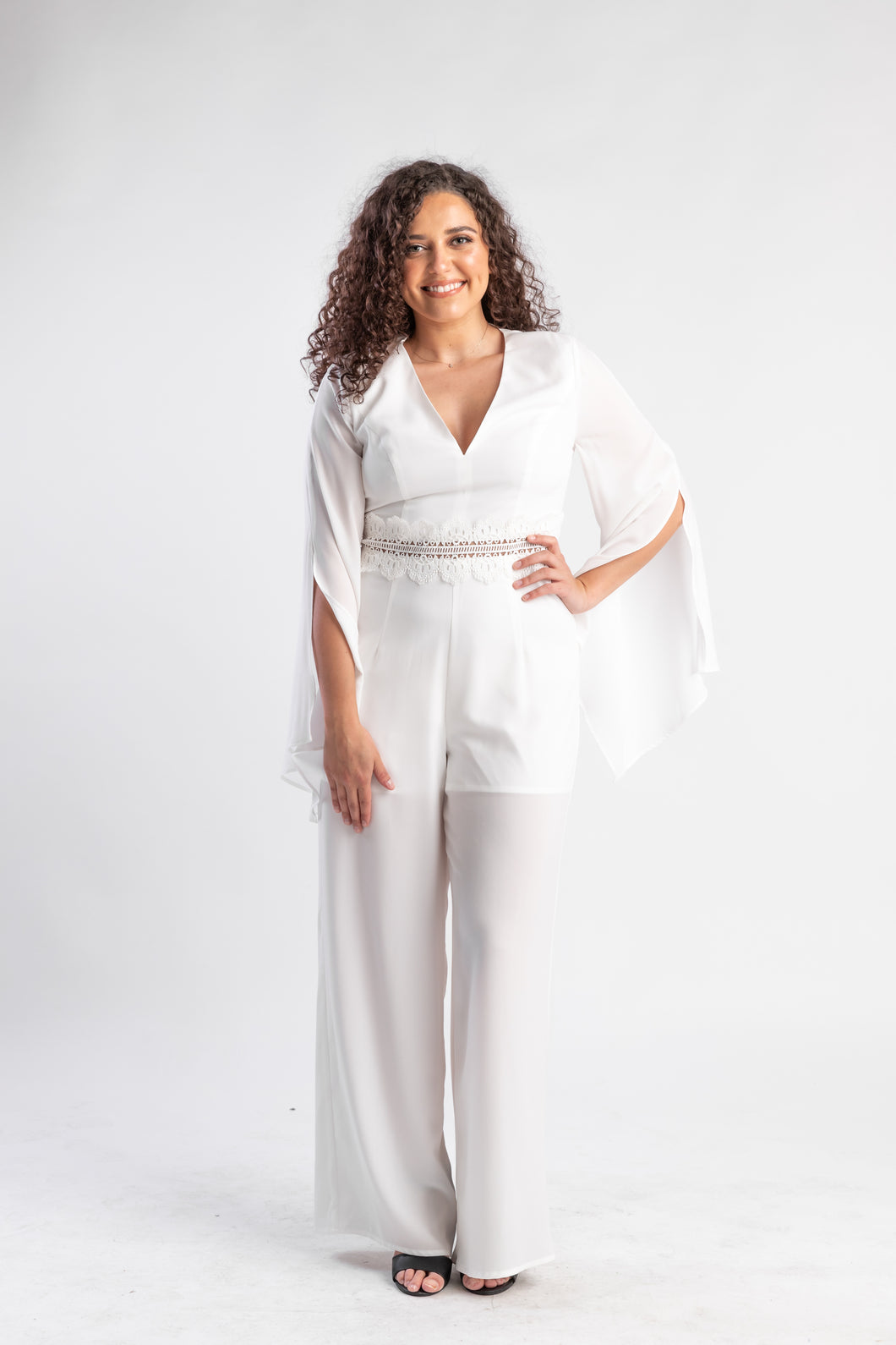 Never Too Far white jumpsuit Bariano