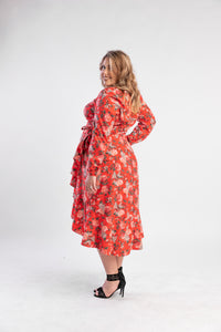 Regali Wrap Dress Atmos and Here, floral wrap dress with sleeves