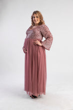 Load image into Gallery viewer, Dark mauve sequin tulle maxi dress, belle sleeves