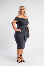 Load image into Gallery viewer, Navy off the shoulder Dress Atmos & Here