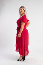 Load image into Gallery viewer, Viva Red Ruffle Cocktail Dress Atmos and here