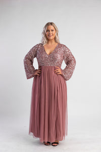 Dark mauve sequin tulle maxi dress, belle sleeves