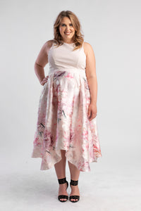 Floral Dress with Pink top and full metallic skirt