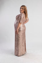 Load image into Gallery viewer, Rose Gold Sequin Gown with t-shirt sleeves