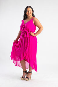 Bright pink flowy dress
