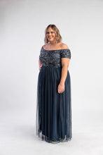 Load image into Gallery viewer, Navy Sequin Tulle Dress Maya Plus