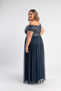 Navy Sequin Tulle Dress Maya Plus