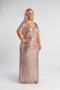 Rose Gold Sequin Gown with t-shirt sleeves