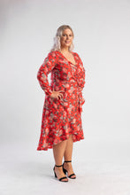Load image into Gallery viewer, Regali Wrap Dress Atmos and Here, floral wrap dress with sleeves