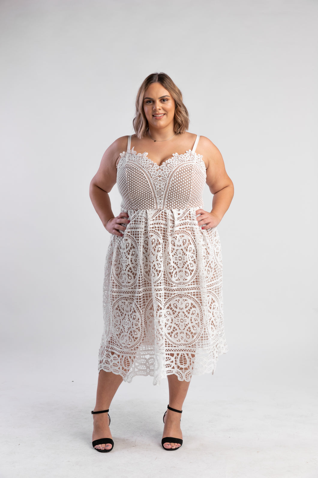 White lace dress city chic