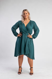 Green Wrap Dress with sleeves
